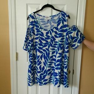 Leota Leaf Print Cold Shoulder Blouse